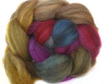 BFL handdyed wool roving top spinning or felting fiber 3.5 oz