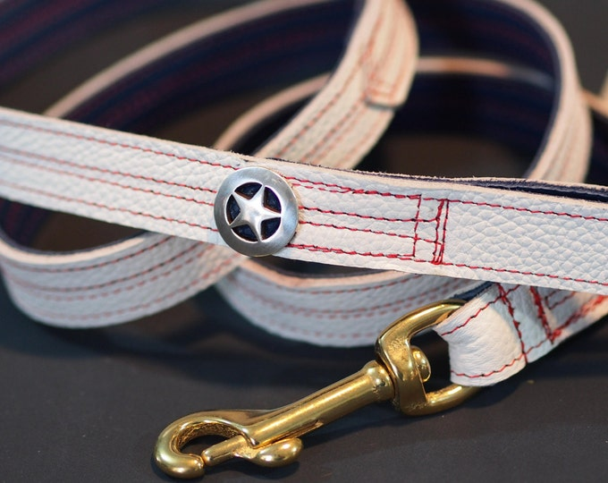 Patriotic Puppy Leather Leash inspired by Captain America
