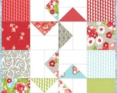 On Sale Quiltsy Destash Party - Windmills Quilted Table Runner Pattern Charm Squares Great for Beginners, Instant Download wallhanging quilt