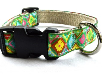 Designer Dog Collar with Ribbon and Hemp