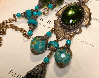 Laelia Art Nouveau Inspired Necklace in Olive and Turquoise