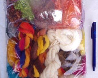 7.6oz Fine fiber mix, creativity mixed bag, spinning fiber, felting fiber, dolls hair, merino wool roving, colour mix, fiber mix, 215g