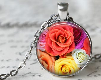 Rainbow Roses Pendant, Necklace or Key Chain - Flowers - Choice of Silver, Bronze, Copper or Black