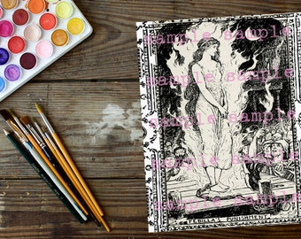 SALE Art Nouveau Coloring Pages > Instant Digital Download > Fairy Tale coloring page > Antique illustrations knights princess fairy witch