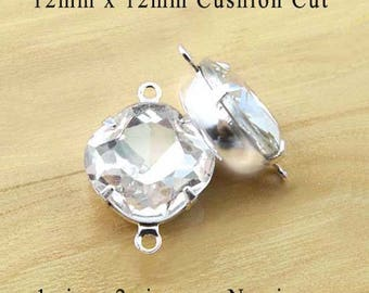 Crystal Glass Beads - 12mm x 12mm Cushion Cut Octagons - Silver or Brass Settings - Rhinestone Cabochon Glass Gems - Set Stones - One Pair