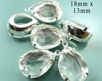 SPECIAL SALE - Three Pairs - Clear Glass Beads - Framed Glass Pendants - Earring Jewels - 18mm x 13mm Pear or Teardrop - One Pair