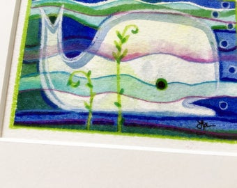 Whale small art watercolor original painting matted ocean