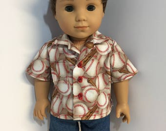 "18"" doll clothes baseball button-down shirt and denim shorts fits dolls such as American Girl Boy Logan"