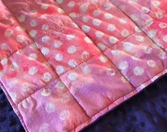 Weighted Blanket - Adult or Child - Pink Purple Polka Dot COTTON fabric - Choose your weight (up to 15 lbs) and minky color - custom