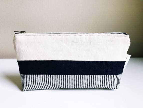 Small Zipper Pouch, Toiletry Canvas Bag, Small Make up Bag, Canvas Cosmetic Bag, Travel Cosmetic Bag, Blue Makeup Bag
