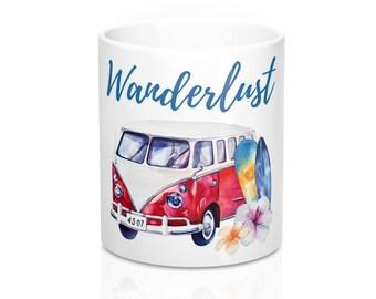 Beach Mug, Coffee Mug, Stainless Steel Travel Mug, VW Mug, Ceramic Mug, Travel Mug, Beach Coffee Mug, Coffee Cup, Tropical Coffee Mug