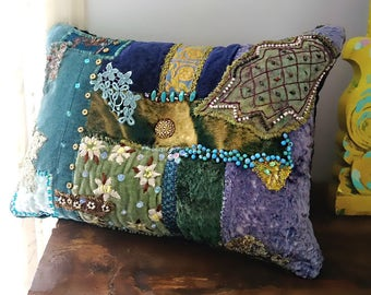 Opulent Blues Velvet Cushion. Boho Chic Pillow, Patchwork, Antique Embroidery, Small Pillow, Bohemian, Gypsy, Home Decor, Cushion