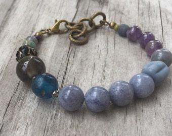 MYSTIC BOHO Stack BRACELET in Blue & Purple with Vintage beads, Gemstones and Antique Brass; Adjustable Length