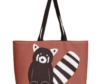 Red Panda Bag - Animal Art Bag - Orignal Art Bag - Tote Bag - Red Tote Bag - Different Sizes