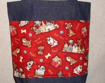 New Medium Handmade Doggie Dog Whimsical Pet Denim Tote Bag