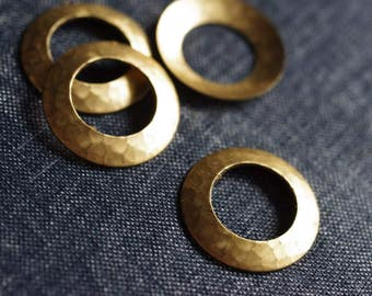 Hammered Domed 22mm Circle Ring Stampings - Raw Brass - 6pcs - Round Stamping - Hammered Brass - Textured Round Stamping - Hammered Circle