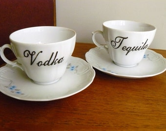 Vodka Tequila hand painted vintage teaset recycled humor boozy Christmas tea party