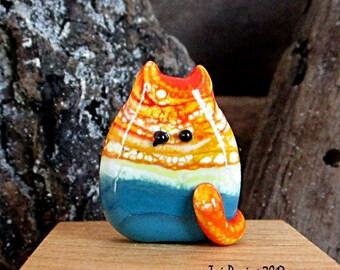 Handmade Lampwork Easter Egg Cat Bead Focal - Hortense FatCat