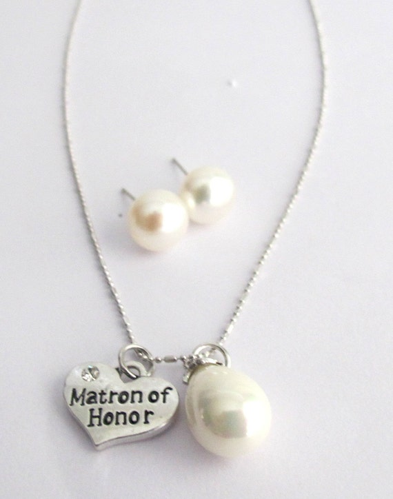 Matron of Honor Necklace Set, Matron of Honor Jewelry, Wedding gift Jewelry, Bridesmaid gift, Matron of Honor Keepsake, Free Shipping In USA