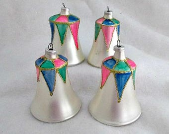 Vintage Blown Glass Bell Christmas Tree Ornaments  - 4 1980's Glass Bell Ornaments