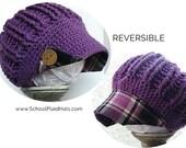 newsboy hat tartan plaid hat button brim cute winter hat upcycled fabric ladies newsboy hat teen hat gift for girls