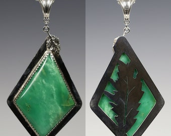 Reversible Chrysoprase Pendant. Sterling Silver Necklace. Leaf Cut Out Back. Genuine Gemstone. Fern Green. One of a Kind. f15p002