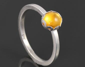 Citrine Stacking Ring. Sterling Silver. November Birthstone. Genuine Gemstone. Ready to Ship. Size 6.75. s17r012