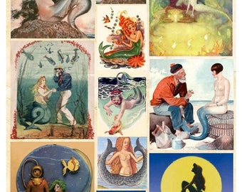 Mermaids No. 5 - Digital Collage Sheet - Instant Download
