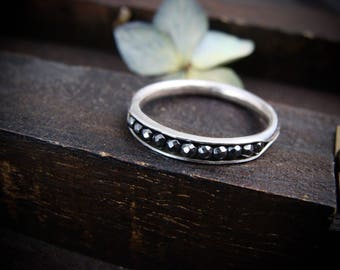 petite hematite sterling stack ring