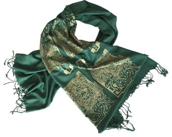 Circuit Board Printed Scarf. Computer science gift. For men or women. Antique brass or silver print on emerald green linen weave pashmina.