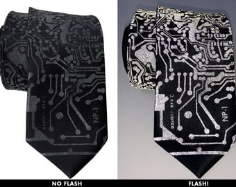 Circuit Board Necktie. RetroReflective print men's tie. Computer science gift. Silkscreened circuit board.