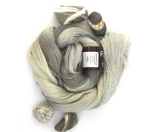 Variegated grey yarn, laceweight handdyed Perran Yarn, Pebble Heavenly lace baby alpaca silk cashmere fine 2ply uk seller silver charcoal
