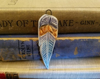 Handmade Ceramic Porcelain Feather Pendant Purple Blue Amber Orange