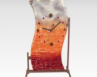 "Glass Mantel Desk Clock with Iron Stand in Rust, Persimmon, Taupe Fused Glass 7-1/2"" x 12-1/2"""