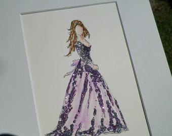 Put Yourself into Pretty Dress Commission Custom Painting Watercolor Fashion Illustration Princess Gown Wedding Dress Art Original Painting