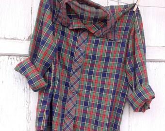 SALE- Vintage Plaid Shirt-Women- Retro Holiday Plaid