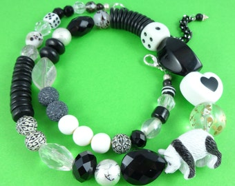 Black and White Panda Necklace - mixed beads necklace, monochrome necklace, toy animal necklace, unique one of a kind, quirky novelty cute