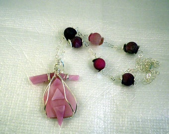 Think Pink Fused Glass Necklace on Sterling chain