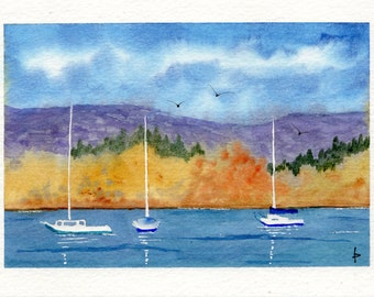 Original watercolor painting GREETING card SFA Pacific NW at anchor