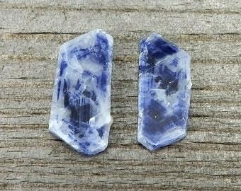 Sapphire Gemstone Slices (set of 2) - De-Stash Stone Sale - 16mm x 7.5mm & 15mm x 6.5mm, Fair Trade, Jewelry Making Supplies, Gemstones
