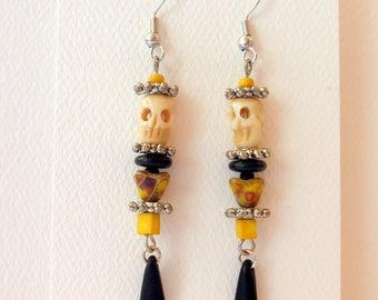 Earrings Dangle Earrings Skull and Flower Earrings #014
