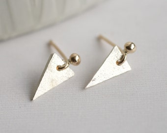 Handmade Sterling Silver And 9ct Gold Earrings