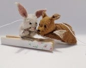 Reserved - Custom made woodland fox and rabbit - gender neutral nursery decoration