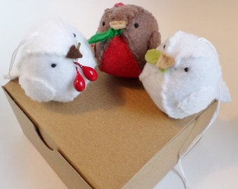 Christmas doves and robins - set of 3