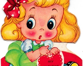Vintage 1930's Little Girl Expanding Greetings Card (B17)
