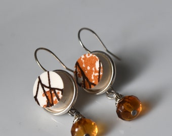 Simple Circle Broken Plate Earring with Dangle Bead - Orange - Recycled China