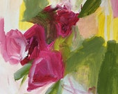 flower painting magenta abstract floral diptych original painting on paper