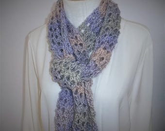 Crochet Scarf -Lacy All Season Scarf -  Long Crochet Scarf - Lightweight Handmade Scarf - Self Striping -  Womens Accessories - Gift Idea