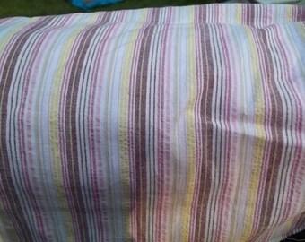 Stretch Seersucker Cotton Lycra Pink Yellow Raisin Stripe 58 inches wide BTY New