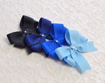 Set of Blue Hair Bows - 5 styles - 4 sizes - blue toddler bows - no slip baby bows - hair bow lot - girls blue bows - navy hair bows